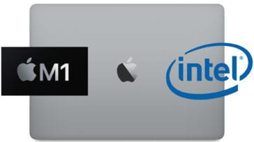 macbook pro with apple m1 logo and intel logo