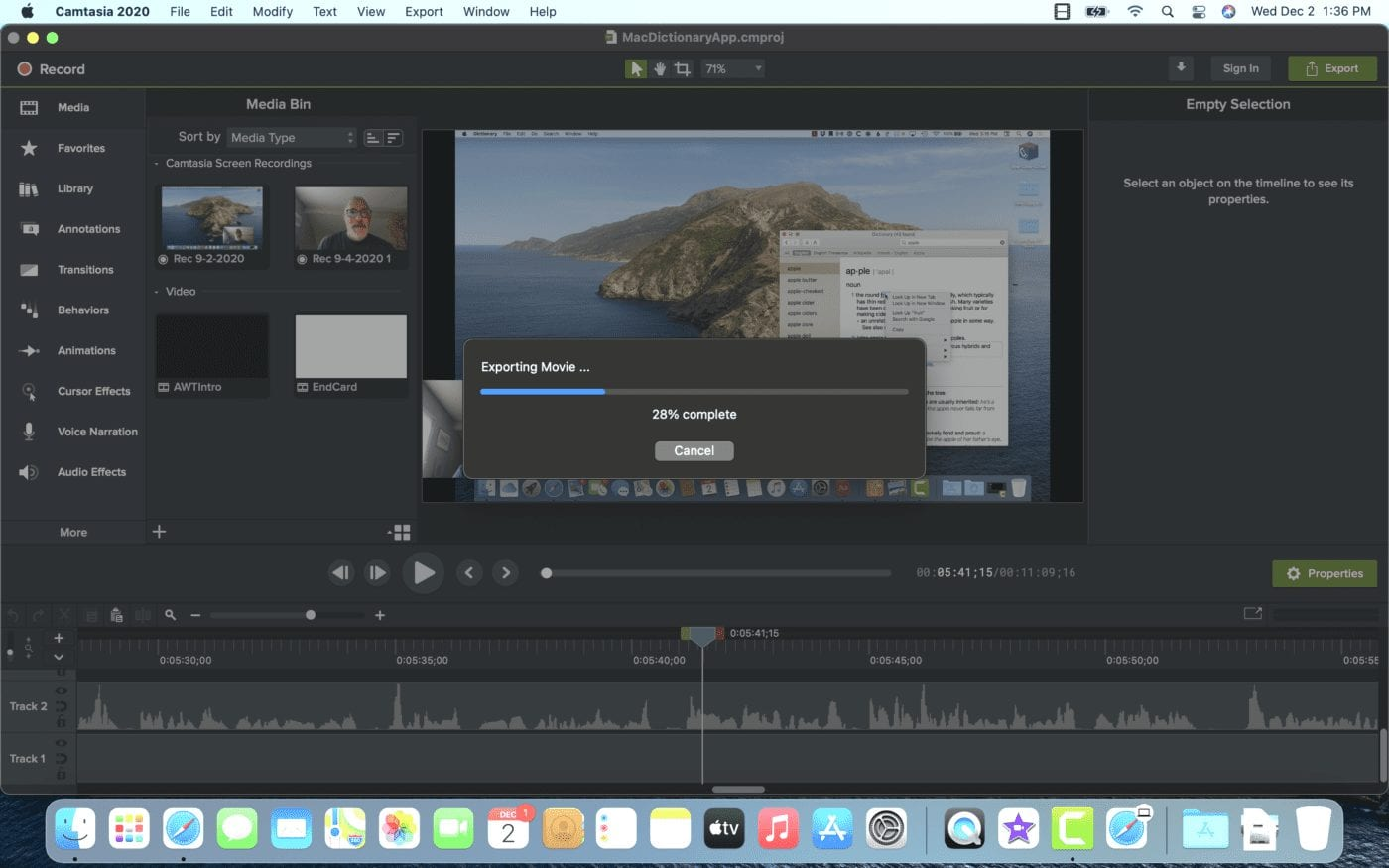 Camtasia 2020 – not a Universal app – was used to render a large video on both the M1 MacBook Air and a fast Intel MacBook Pro
