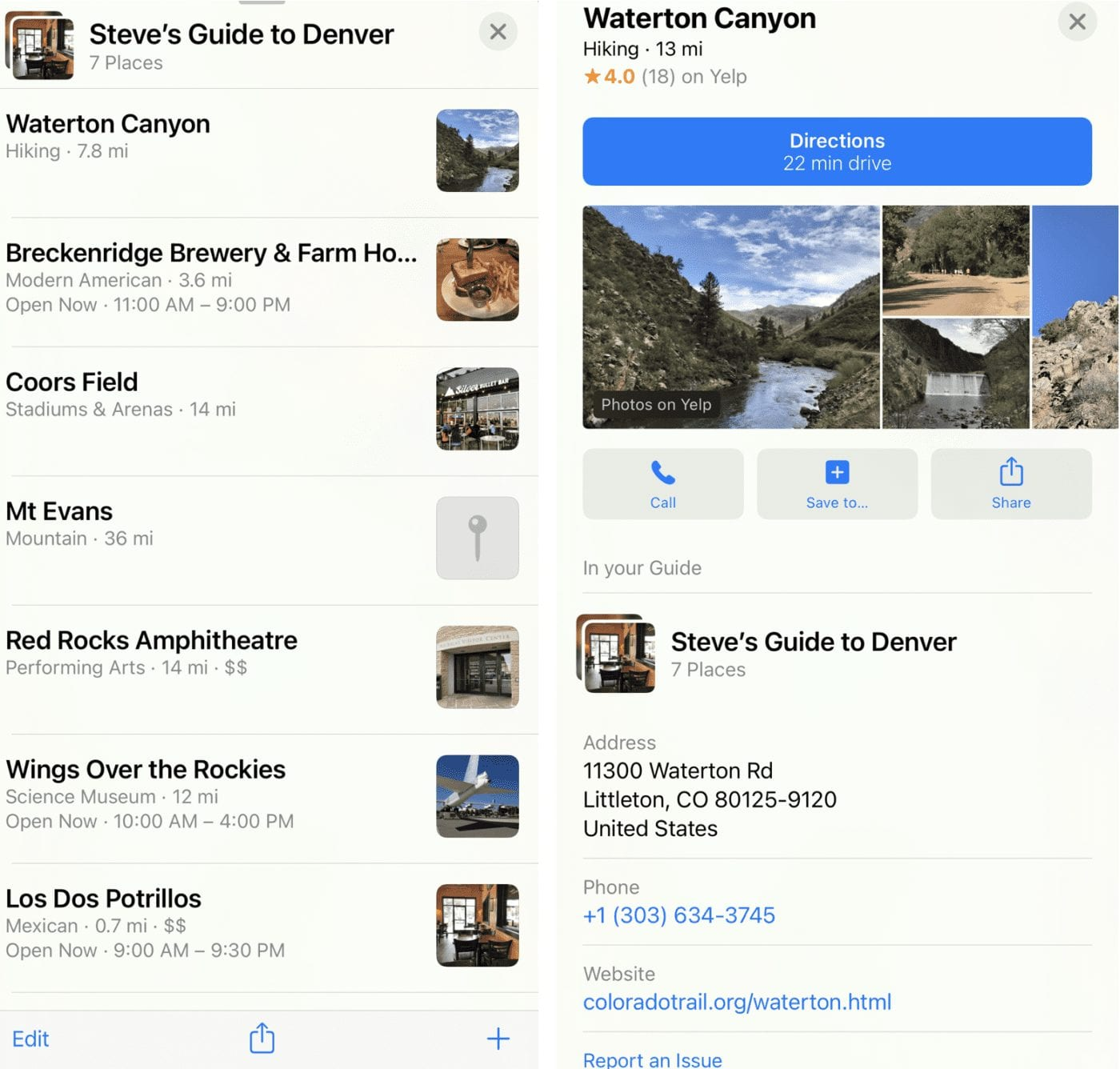 The completed Guide at left, with a single location listing at right