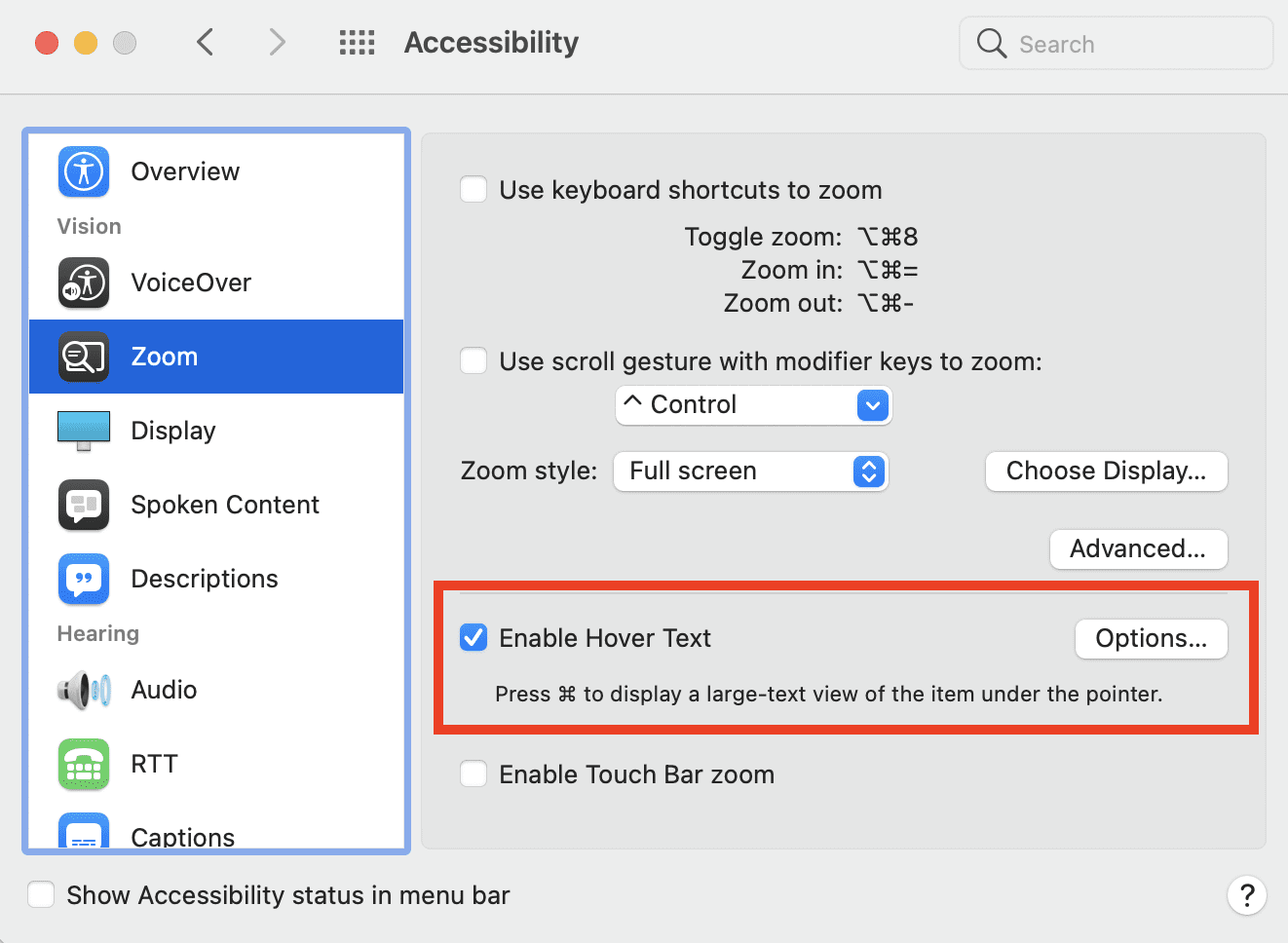 Hover Text is found in System Preferences > Accessibility > Zoom