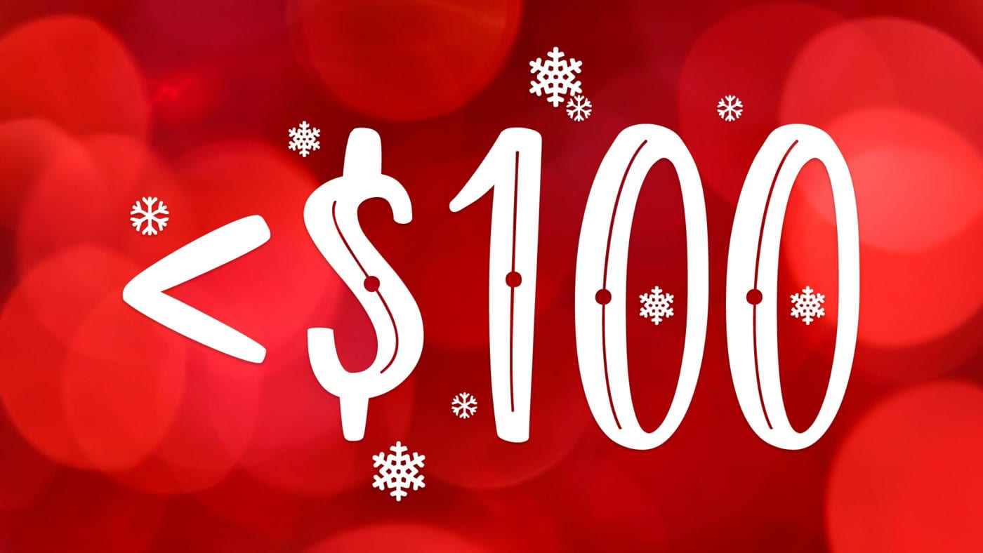 less than 100 dollars on red christmas light wallpaper background