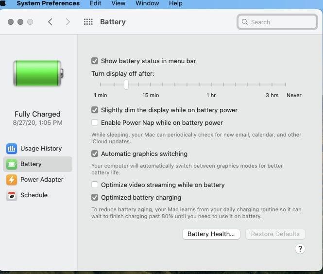 battery system preferences in macos big sur