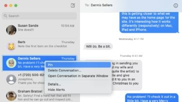 example window of macOS Big Sur messages