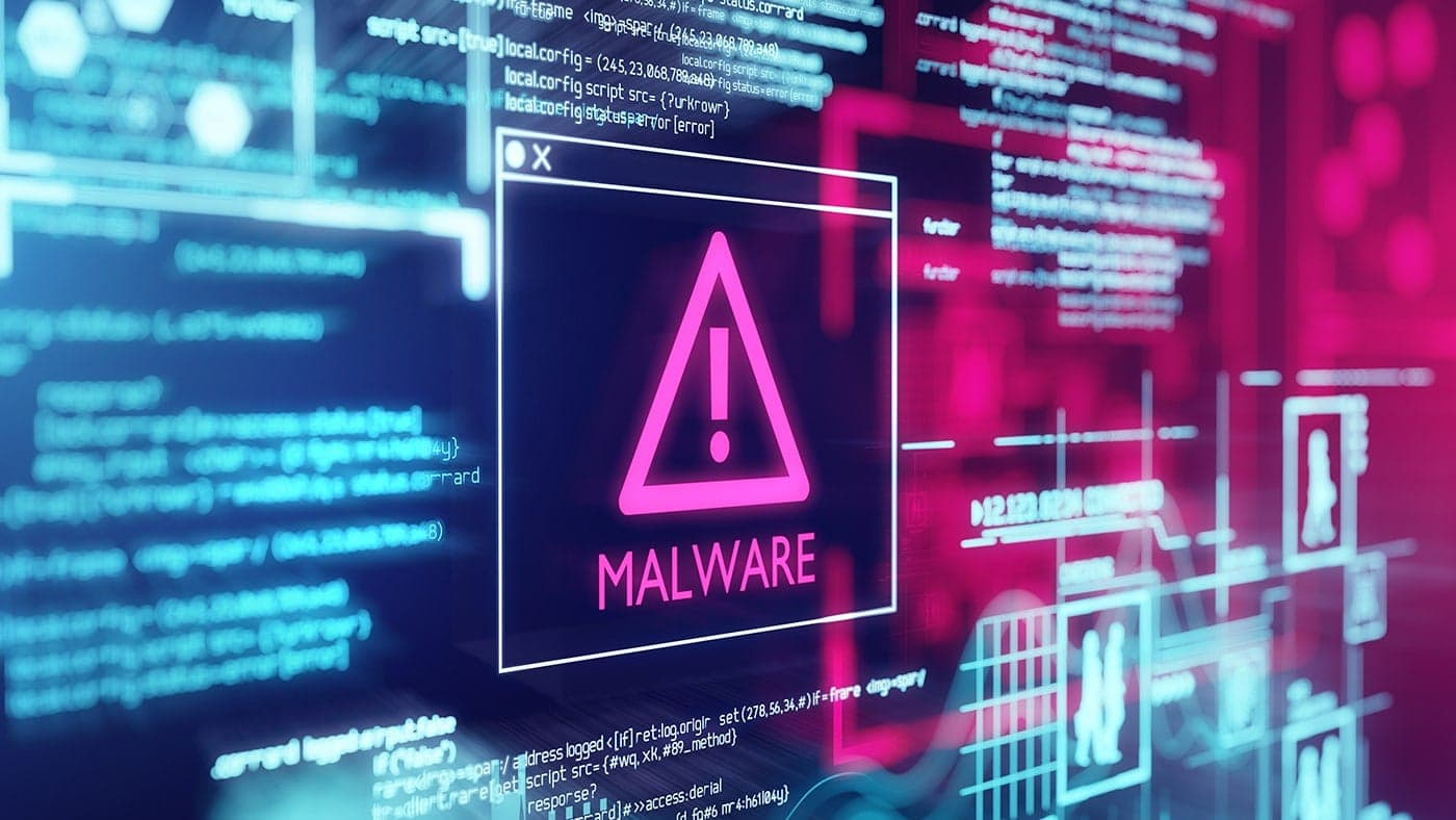 Malware icon on computer screen