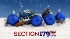 section 179.org on snow with blue ornaments
