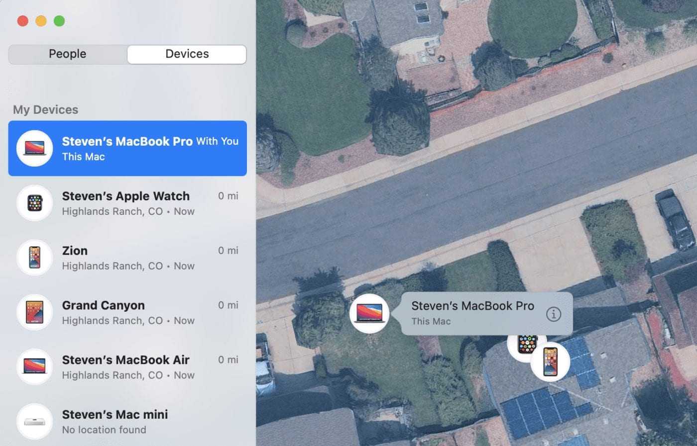 The  map view with icons indicating different devices