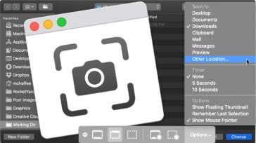 macos screenshot app icon showing app options