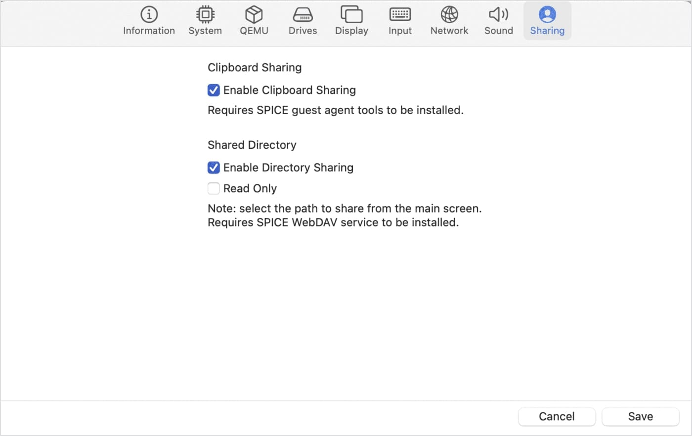 """Enable Directory Sharing to share files between your """"guest"""" Windows VM and the """"host"""" Mac"""