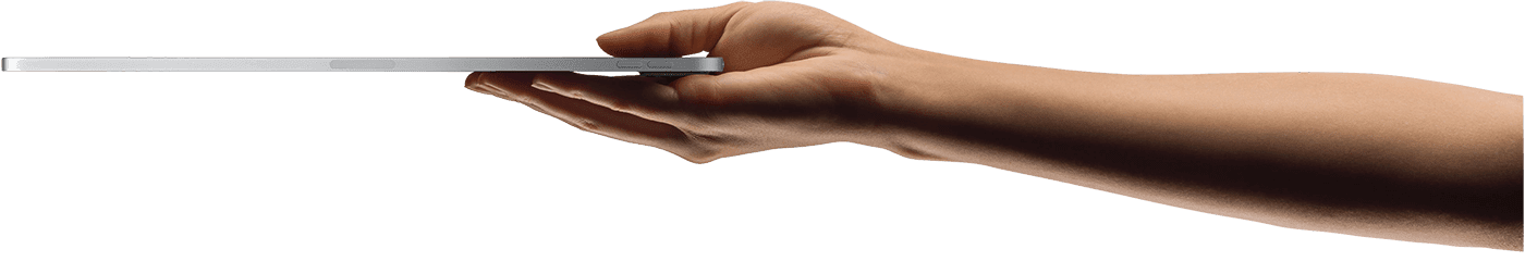 Arm reaching out holding an ipad pro flat