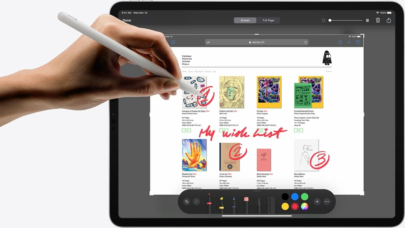 Drawing on an iPad Pro with an Apple Pencil