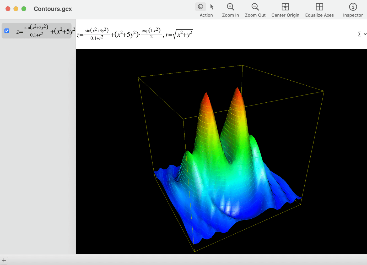 The animated contours example in Grapher is fascinating, and can be manually rotated as well