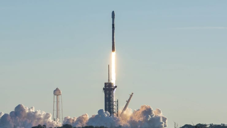 Another 60 Starlink satellites being launched on a SpaceX Falcon 9 Rocket in January, 2021. Image via SpaceX