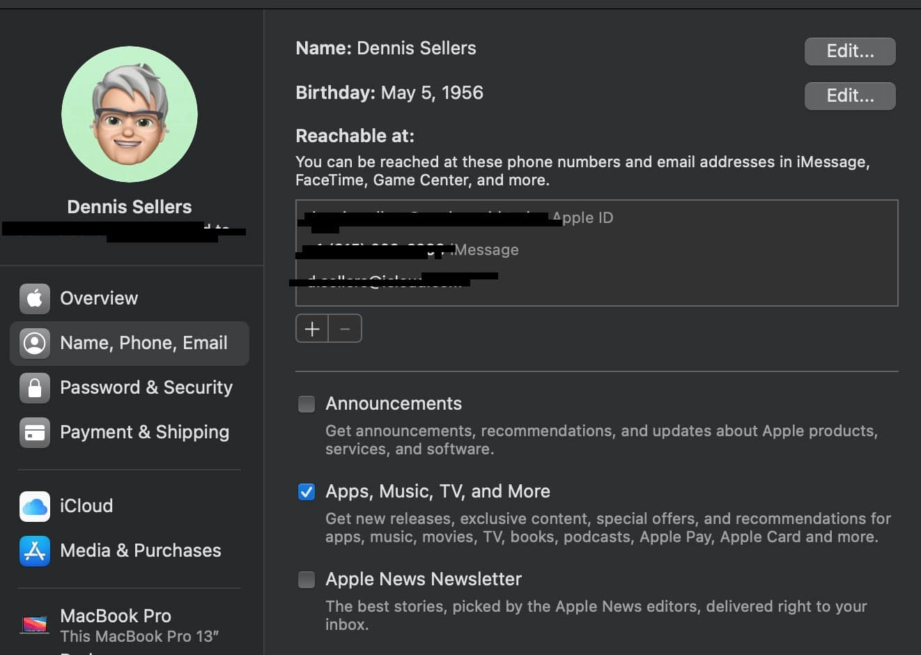 iCloud Name, Phone, Email options in Mac System Preferences