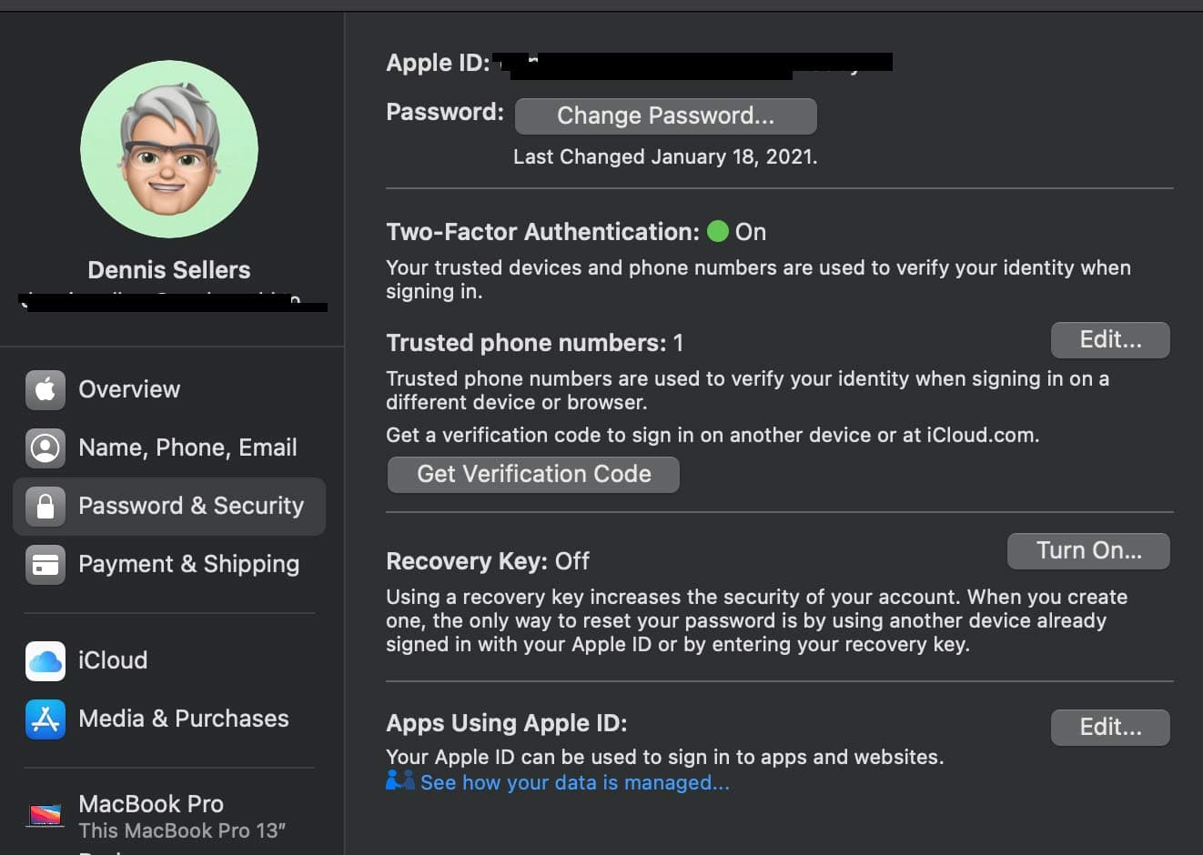 macOS System Preferences for Apple ID – Password & Security