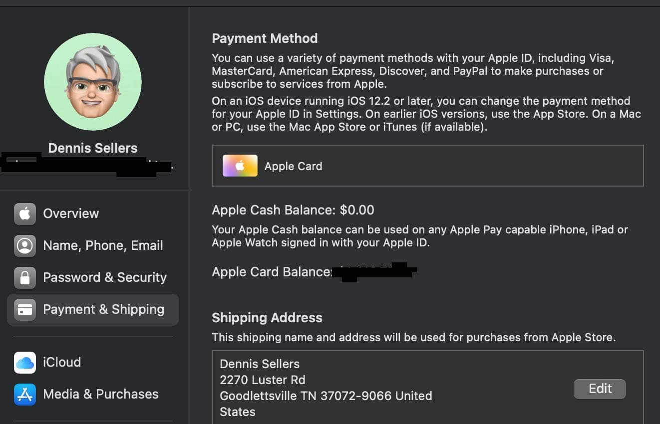 Payment and Shipping options is macos system preferences