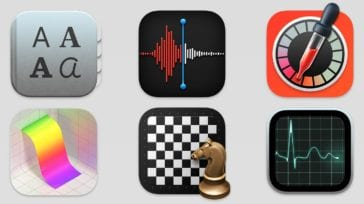 Mac app icons for Font Book, Voice Memos, Digital Color Meter, Grapher, Chess, Activity Monitor