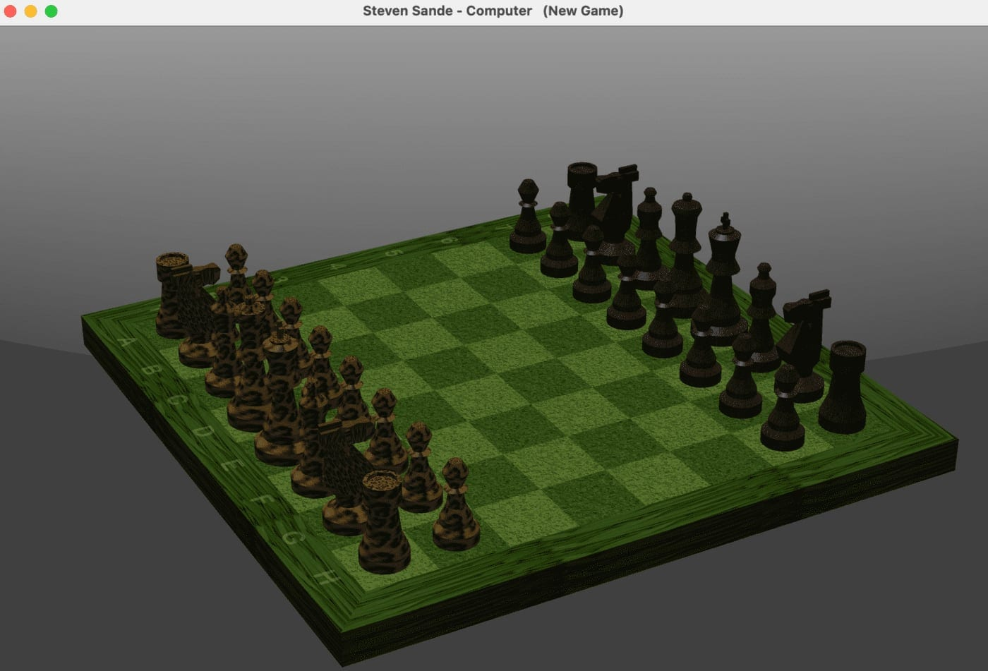 The macOS Chess game, with a grass board and furry pieces...
