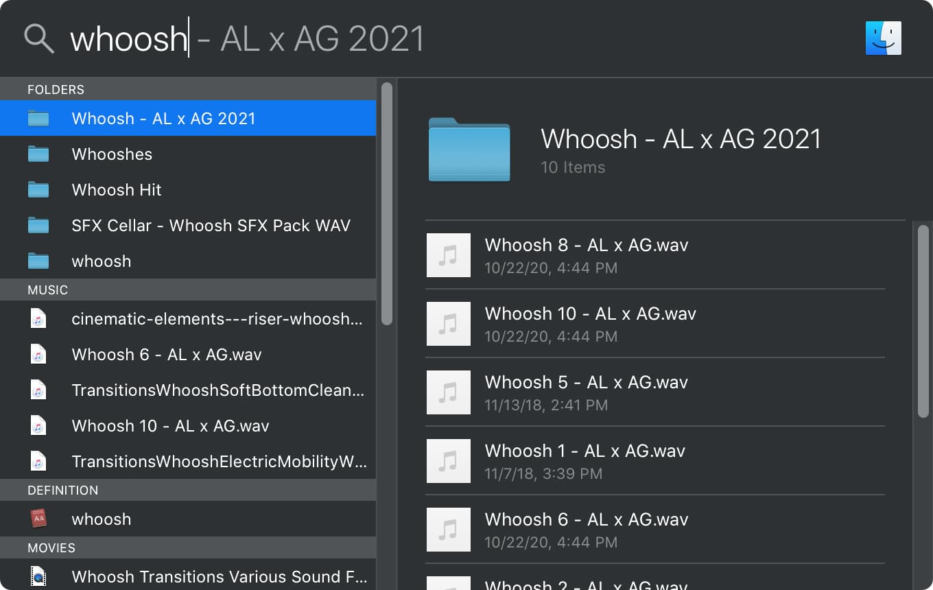 Searching for whoosh sound in the mac finder spotlight tool