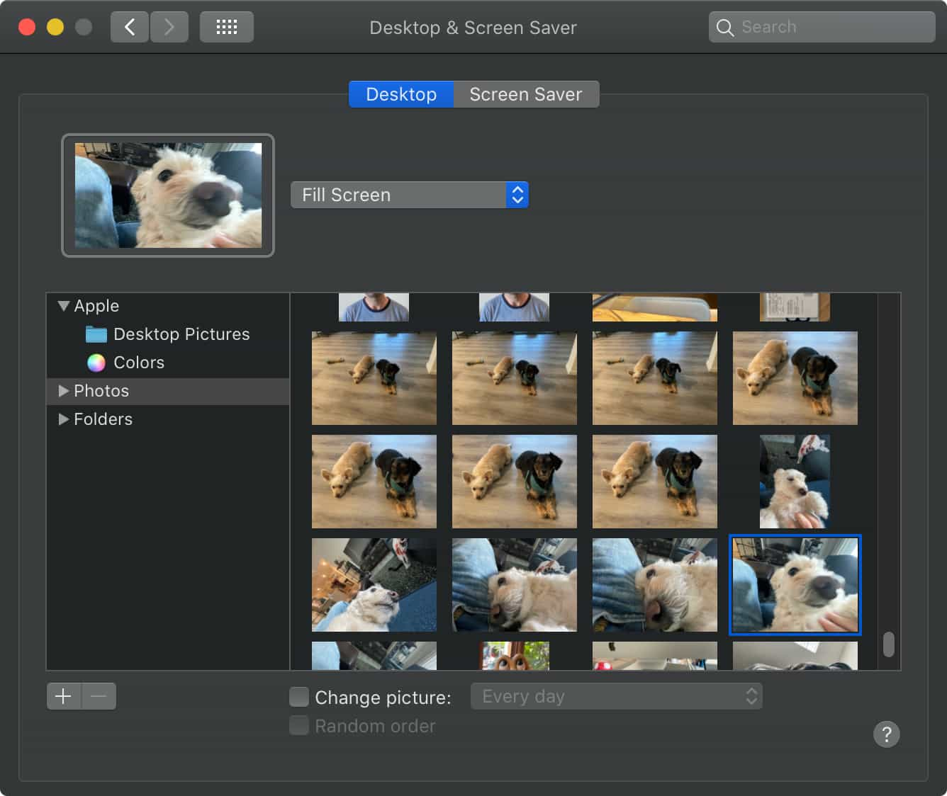 Setting a desktop photo in macos system preferences