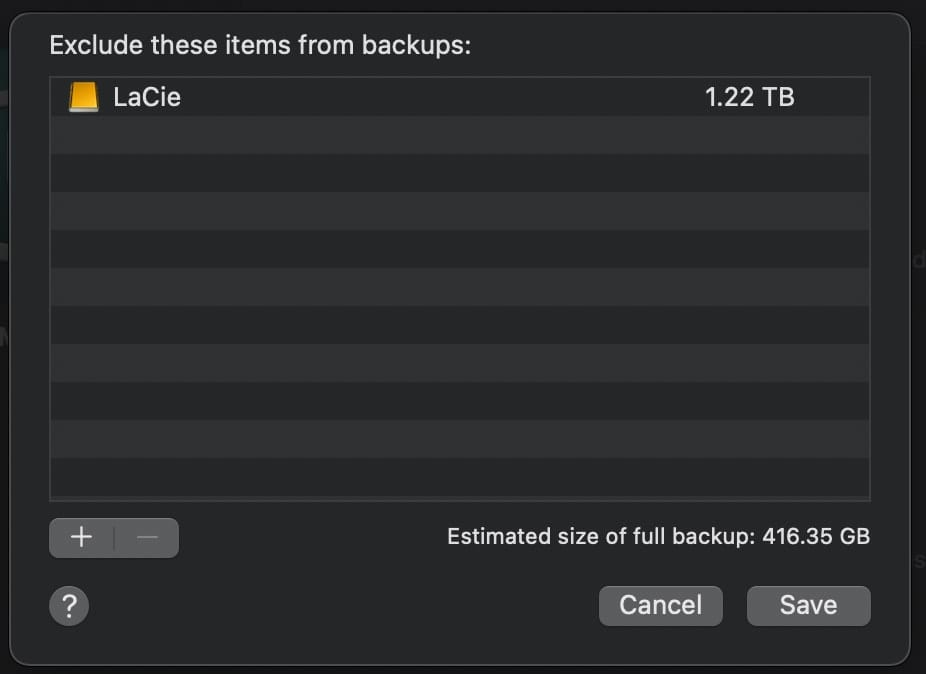 time machine exclude from backups
