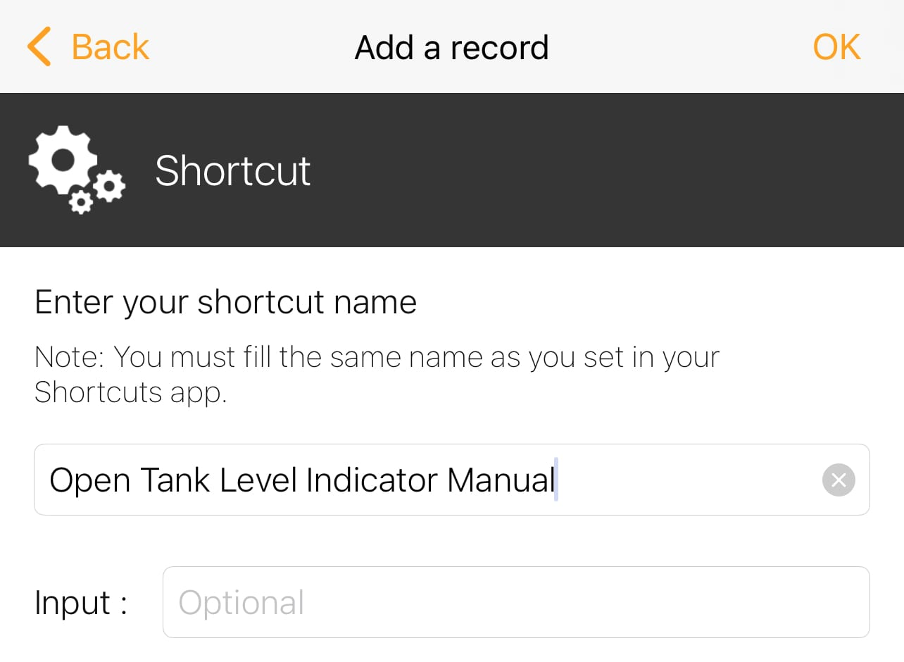 Type the exact name of the shortcut created earlier