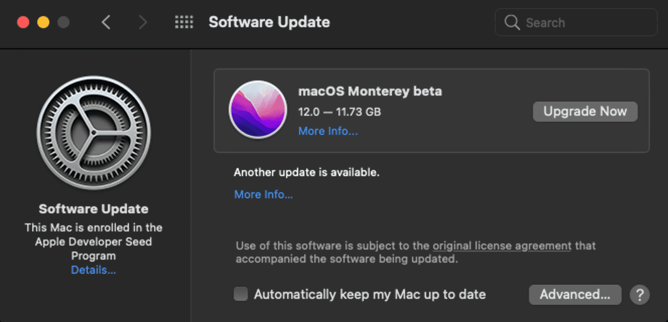 Click Upgrade Now to download and install macOS Monterey beta on your virtual machine
