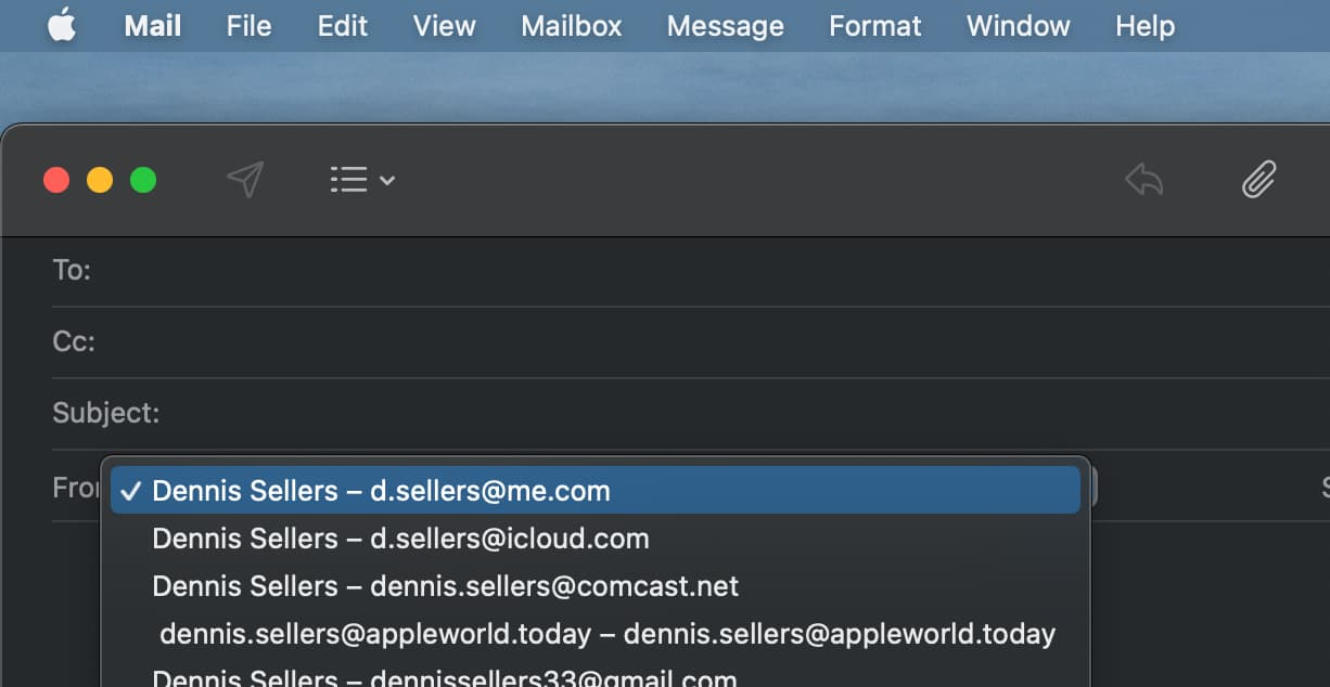 Select the From address in macOS Mail
