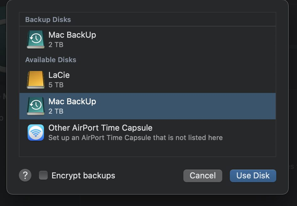 Accessing Time Machine system preferences