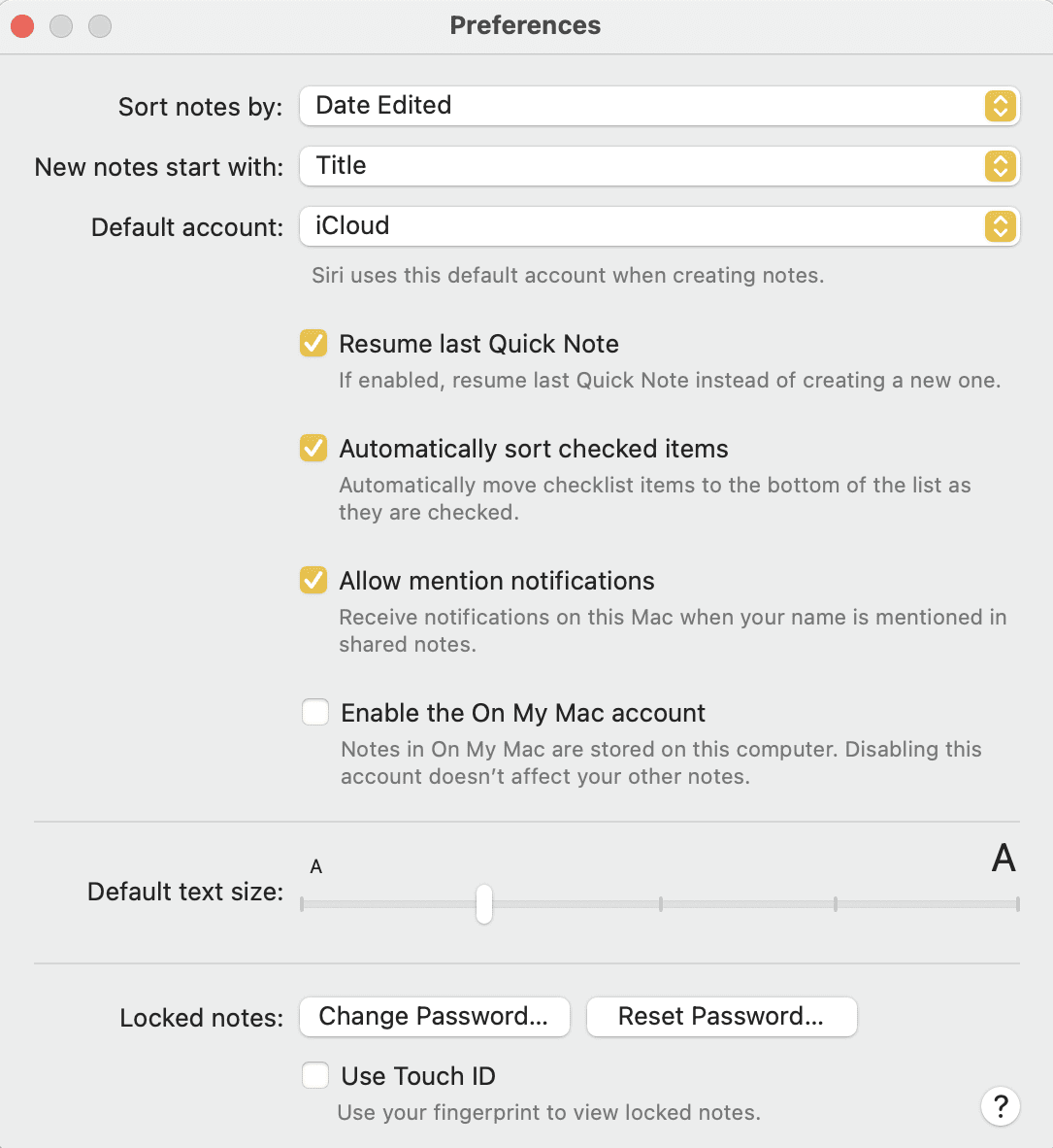 Preferences are found in the Notes app