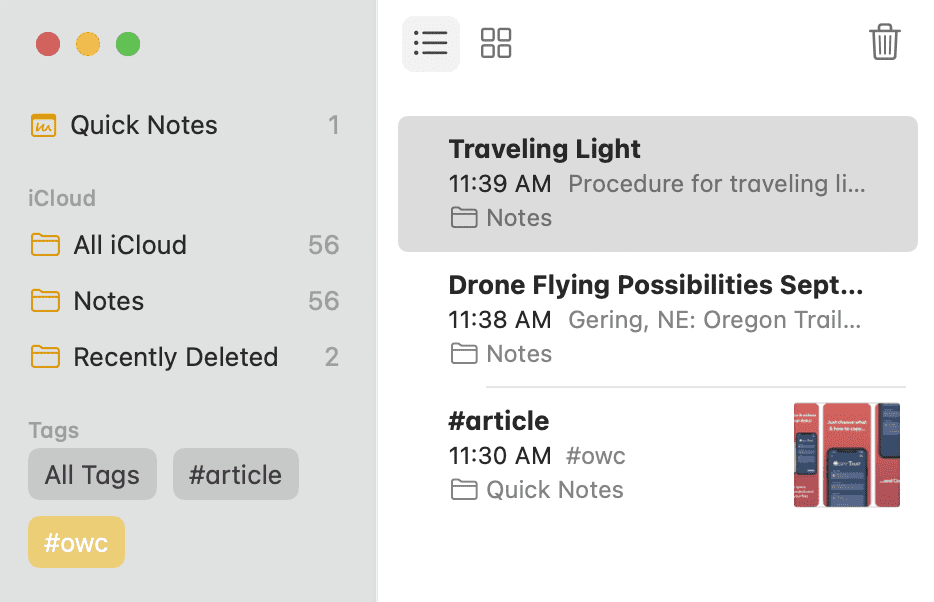 In this screenshot, all notes with the #owc tag are visible