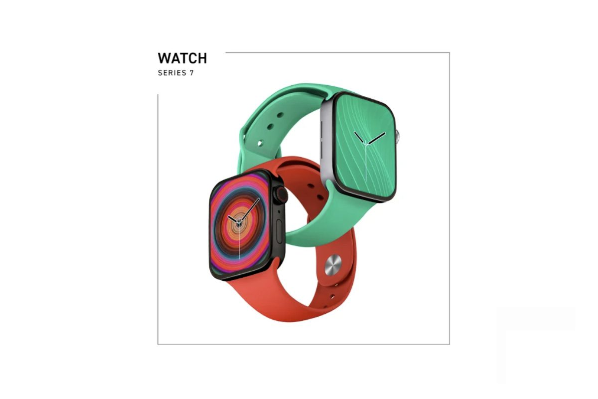 """Apple Watch Series 7 renders via PhoneArena. The new watch series will be announced at """"California Streaming"""""""