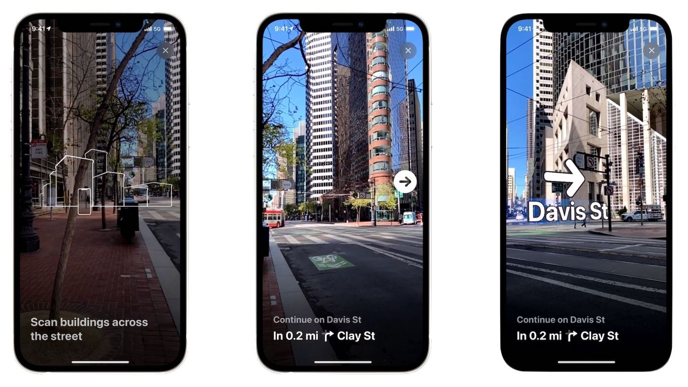 iOS 15 Maps AR walking directions view